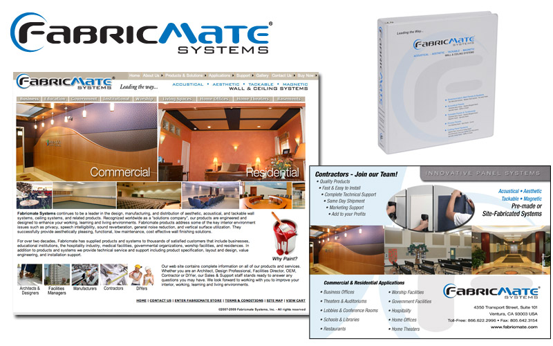 Fabricmate logo, websites, literature, photography