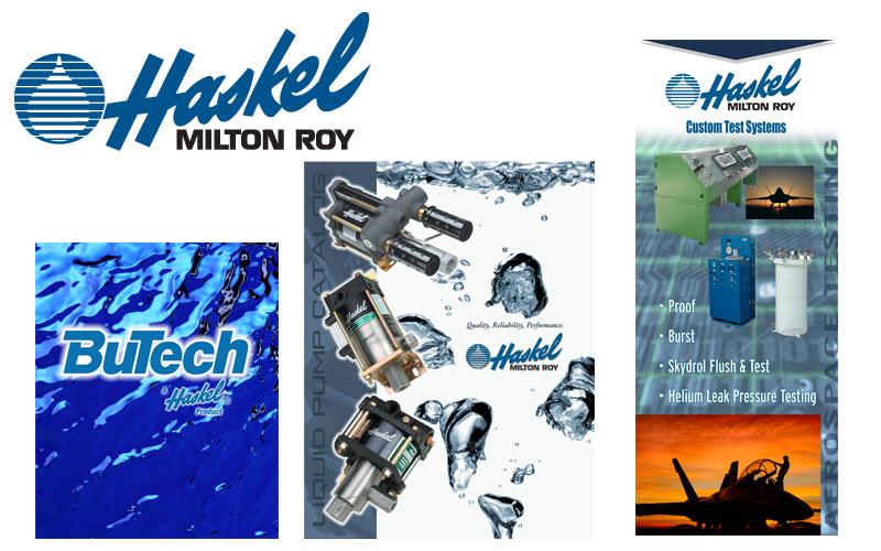 Haskel logo, brochures, ads, photography