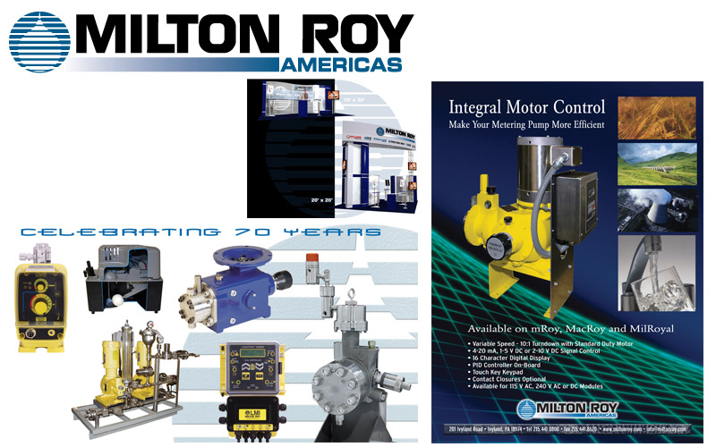 Milton Roy logos, ads, expo graphics, brochures