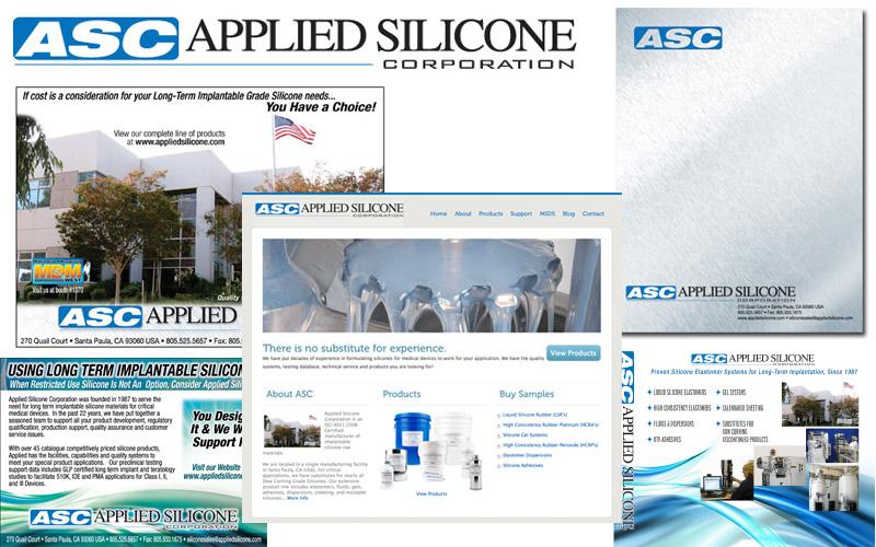 Applied Silicone brochure, website, logo design