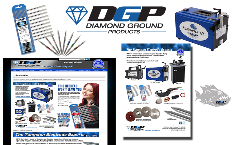 Diamond Ground Products logo, literature, website and photography
