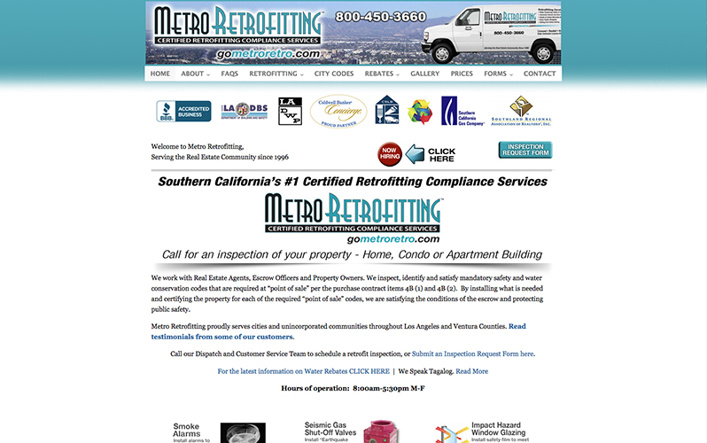 Metro Retrofitting  website and management