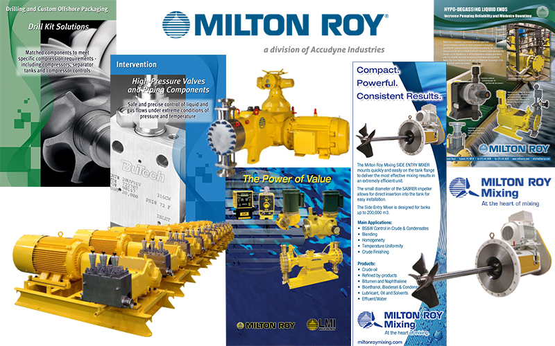 Milton Roy ads, logos, photography, brochures, data sheets