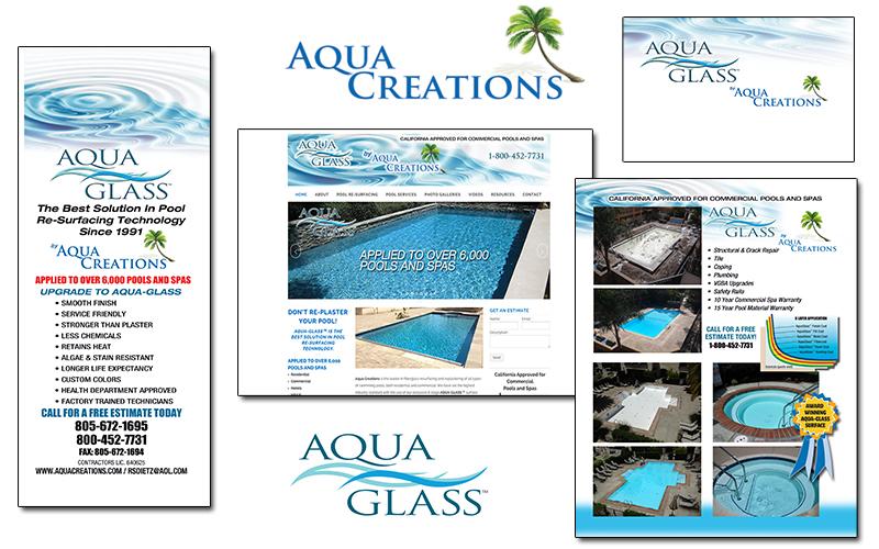 Aqua Creations logo, literature, website